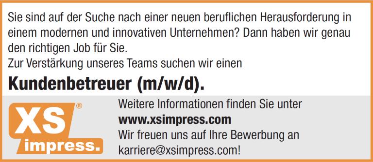 XSimpress: Kundenbetreuer (m/w/d),