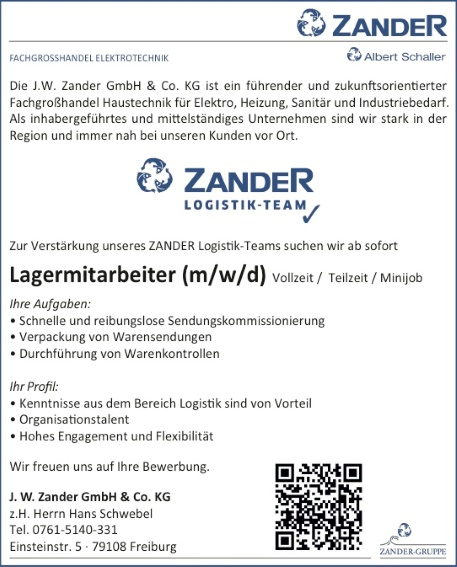 J.W. Zander: Lagermitarbeiter (m/w