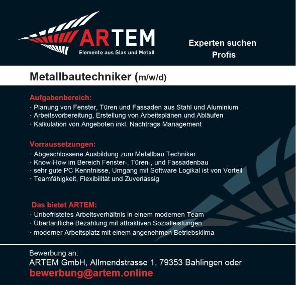 Metallbauer und Metallbautechniker (m/w/d)