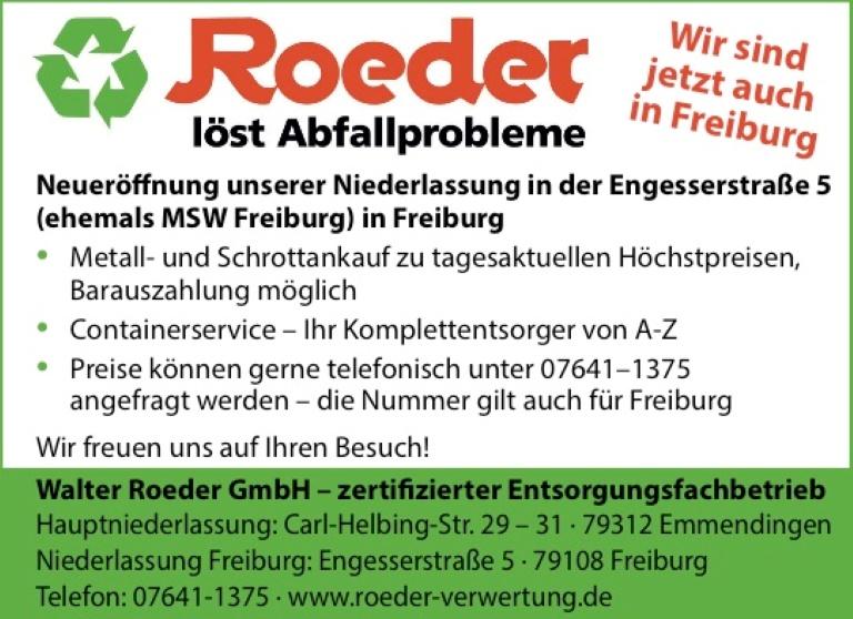Walter Roeder GmbH, Freiburg: