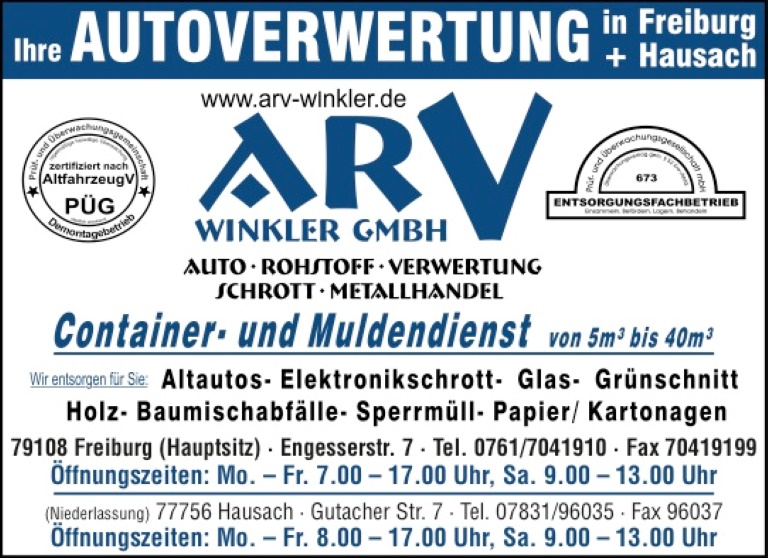 ARV Winkler GmbH, Freiburg / Hausach
